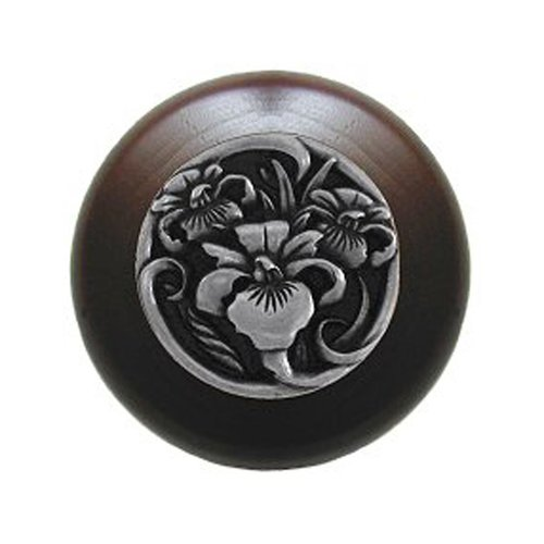 Notting Hill Floral 1-1/2 Inch Diameter Brilliant Pewter Cabinet Knob NHW-728W-BP