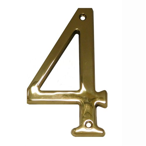 "Don-Jo 4"" House Number ""4"" Bright Brass BN4-4-605"