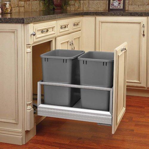 Rev-A-Shelf Double Trash Pullout 35 Quart-Silver 5149-18DM-217
