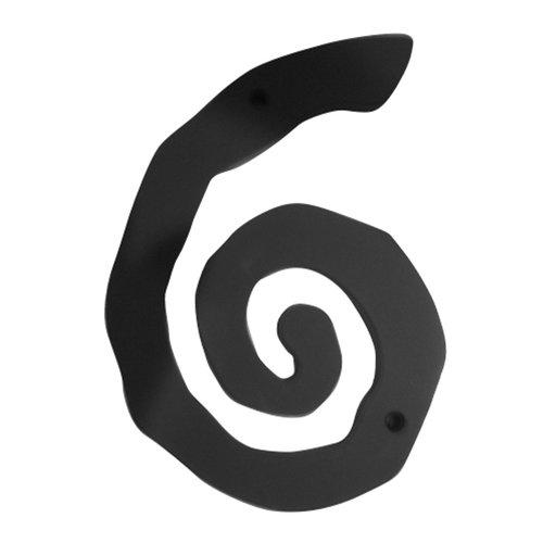 Atlas Homewares Large Scroll House Number Six Matte Black SCN6L-BL