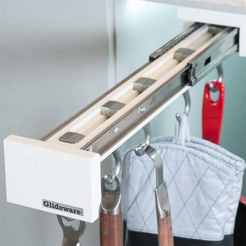 Glideware 22 inch Outdoor Slide Out Organizer 5 Hooks White GLD-P22-SSW-5