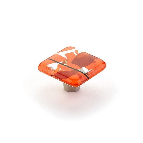 Schaub and Company Ice 1-1/2 Inch Diameter Orange Confetti Cabinet Knob 34-COO
