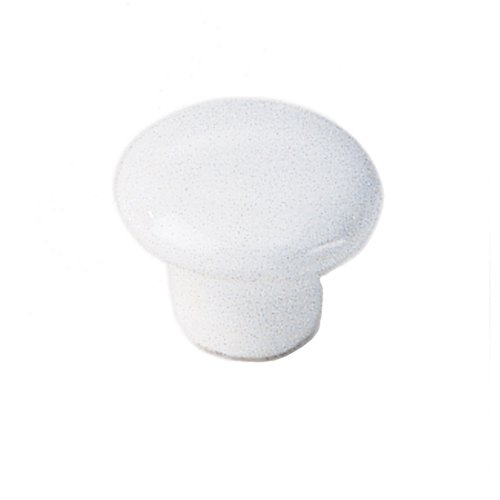 White Porcelain 1 Inch Diameter White Cabinet Knob <small>(#02842)</small>