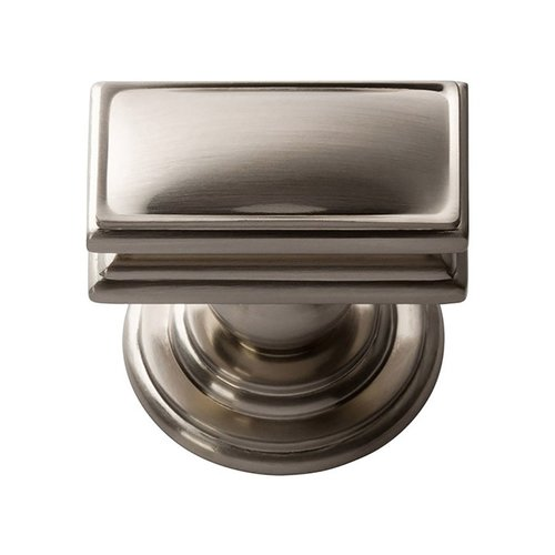 "Campaign Knob 1-1/2"" Long Brushed Nickel <small>(#377-BRN)</small>"