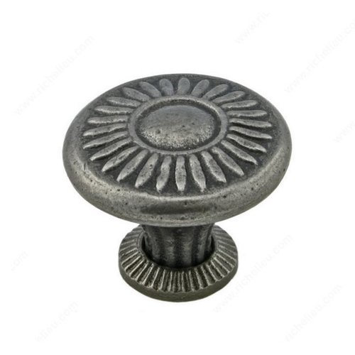 Richelieu Traditional Cast Iron 1-1/4 Inch Diameter Natural Iron Cabinet Knob 388832908