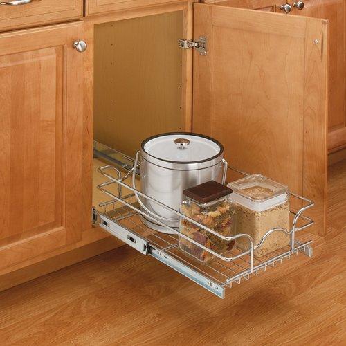 "Rev-A-Shelf 9"" Single Pull-Out Basket Chrome 5WB1-0918-CR"