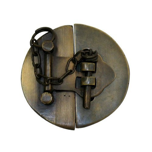"Gado Gado Plain Round Latch with Chain 2-1/2"" Dia - Antique Brass HLA1014"