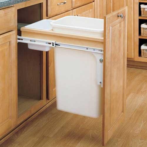 Rev-A-Shelf Single Trash Pullout 50 Quart-Wood 4WCTM-1850DM-1
