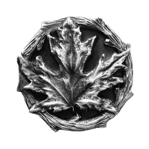 Notting Hill Leaves 1-1/4 Inch Diameter Antique Pewter Cabinet Knob NHK-146-AP