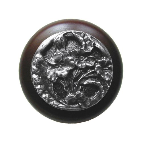 Notting Hill Floral 1-1/2 Inch Diameter Antique Pewter Cabinet Knob NHW-704W-AP