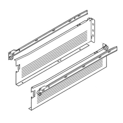 """Blum Metabox Slide 4-5/8H"""" X 16""""L - White W/ Front Fix Brackets 320K4000C15"""
