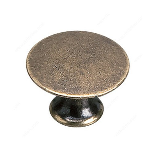 Richelieu Povera 1-3/16 Inch Diameter Burnished Brass Cabinet Knob 2445930BB