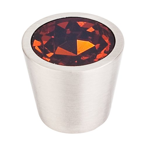 Crystal 3/4 Inch Diameter Wine Crystal Cabinet Knob <small>(#TK134BSN)</small>