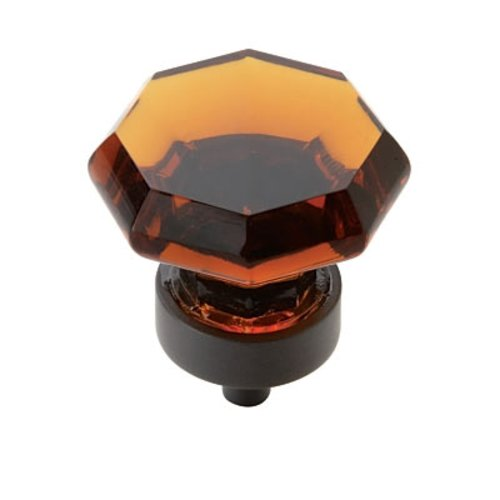 Amerock Traditional Classics 1-1/4 Inch Diameter Amber Glass/Black Bronze Cabinet Knob BP55268ABBR