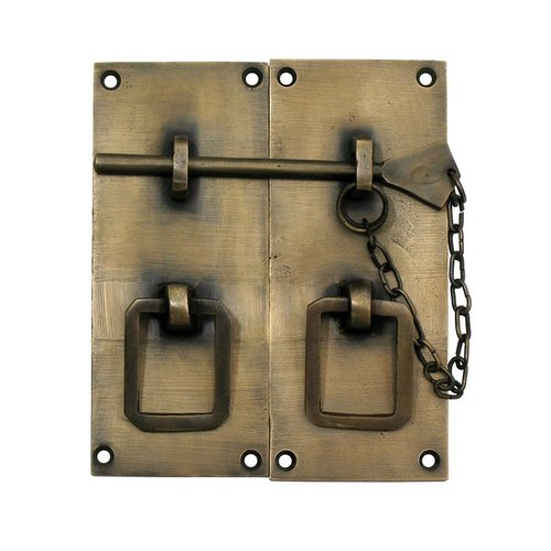 "Gado Gado Two-Piece Rectangular Latch with Handle 4"" L - Antique Brass HLA3010"