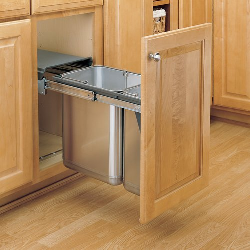 Rev-A-Shelf Double Trash Pullout 30 Liter-Stainless Steel 8-785-30-DM2SS