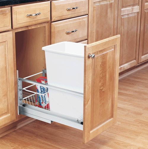 Rev-A-Shelf Single Trash Pullout 35 Quart-White 5349-15DM-1
