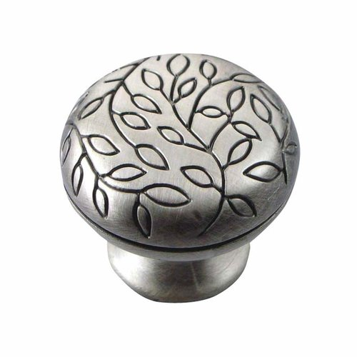 MNG Hardware Vine 1-1/4 Inch Diameter Antique Silver Cabinet Knob 10211