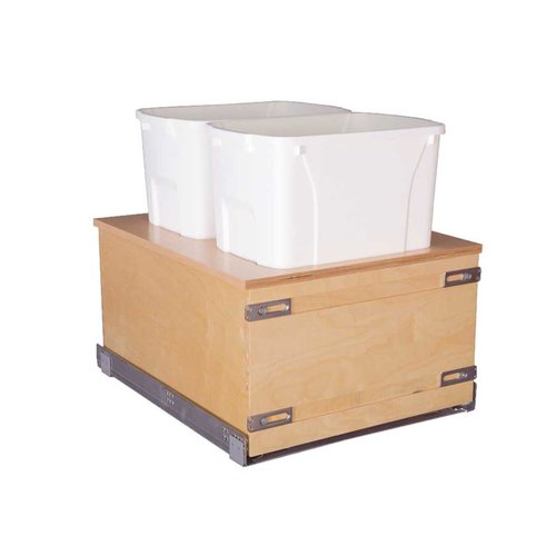 Double Trash Pullout 50 Quart Wood <small>(#CASBM17PF-50)</small>