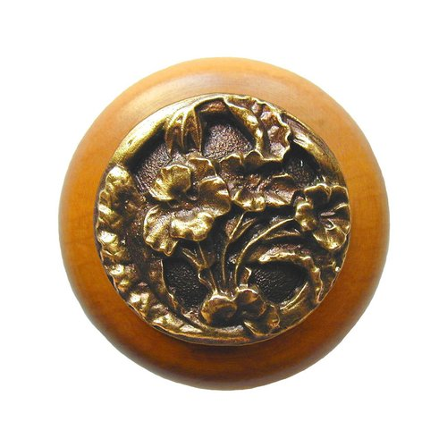 Notting Hill Floral 1-1/2 Inch Diameter Antique Brass Cabinet Knob NHW-704M-AB
