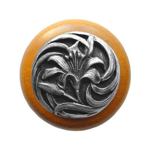 Notting Hill Floral 1-1/2 Inch Diameter Antique Pewter Cabinet Knob NHW-703M-AP