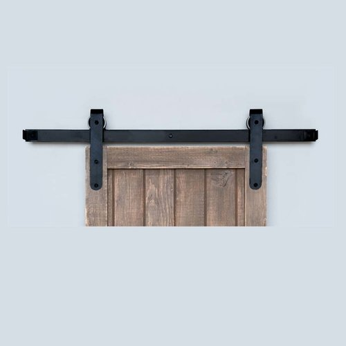 Acorn Manufacturing Designer Barn Door Rolling Hardware & 5' Track Smooth Iron BH5BI-5