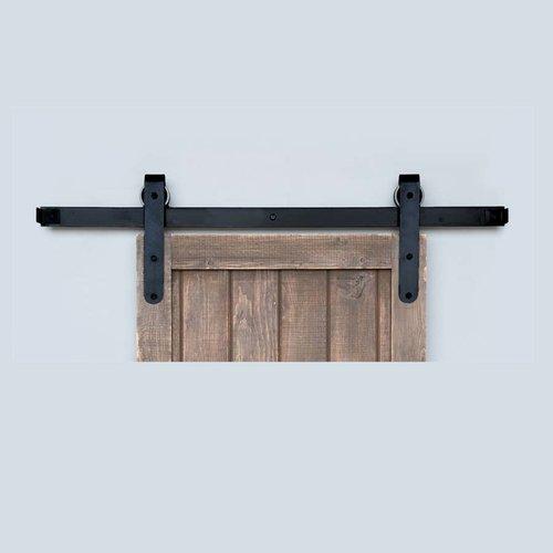 Acorn Manufacturing Designer Barn Door Rolling Hardware and 5 feet Track Smooth Iron BH5BI-5