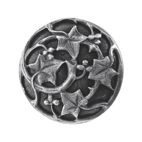 Notting Hill Leaves 1-1/8 Inch Diameter Antique Pewter Cabinet Knob NHK-105-AP