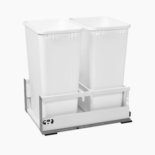 """Rev-A-Shelf TWCSC Double Trash Pullout For 18"""" Cabinet 50 Quart White TWCSC-1850DM-2"""