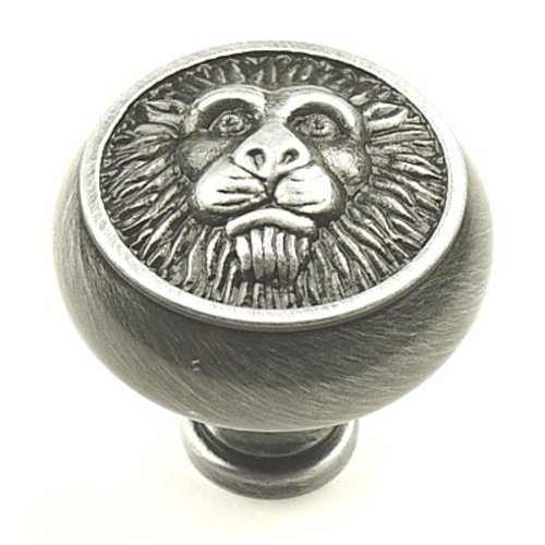 Roman 1-1/2 Inch Diameter Antique Pewter Cabinet Knob <small>(#19308-ASH)</small>