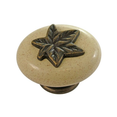 "Hickory Hardware Country Casual Knob 1-1/2"" Dia Windover Antique & Oatmeal P3031-WOAO"