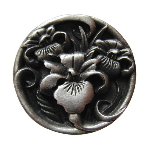 Notting Hill Floral 1-3/8 Inch Diameter Antique Pewter Cabinet Knob NHK-128-AP