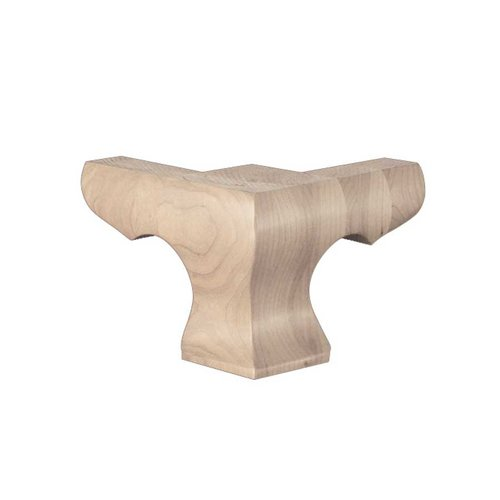 Brown Wood Hampton Corner Bun Foot Unfinished Hard Maple 01703010HM1