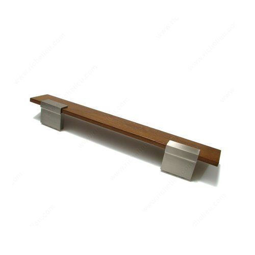Richelieu Wood & Leather 6-5/16 Inch Center to Center Brushed Nickel,Walnut Cabinet Pull 58500195321