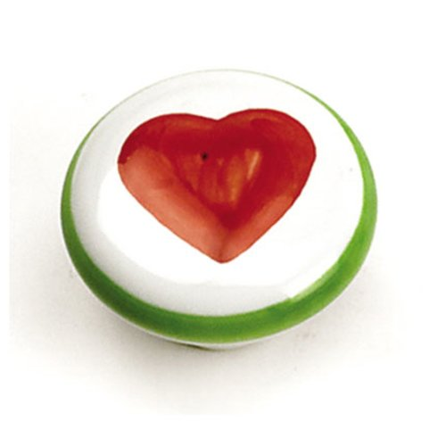 Laurey Hardware Porcelain Knobs 1-3/8 Inch Diameter White With Red Heart Cabinet Knob 01846