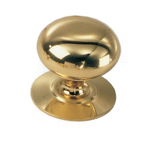 Laurey Hardware Solid Brass 1-1/2 Inch Diameter Polished Brass Cabinet Knob With Back-plate 44401