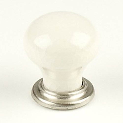 Century Hardware Nordic 1-3/16 Inch Diameter Satin Nickel/Cream Crackle Cabinet Knob 27415-15CR