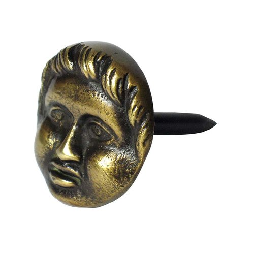 "Round Clavo with Cherub Face 1-3/16"" Dia - Antique Brass <small>(#HCL1256)</small>"