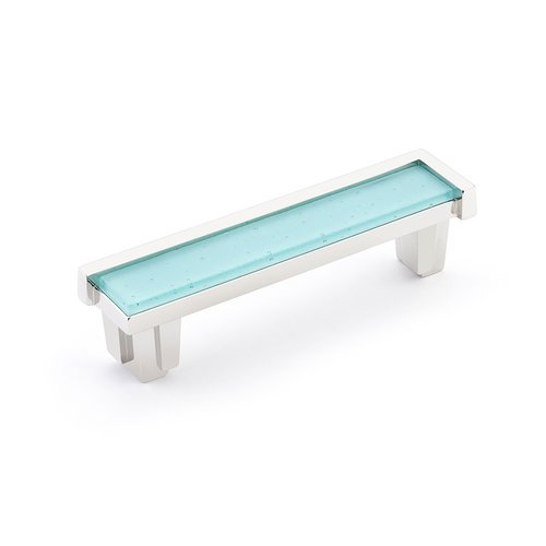 "Schaub and Company Tallmadge Pull 4"" C/C Polished Nickel/Turquoise Glass 27-PN-TQ"