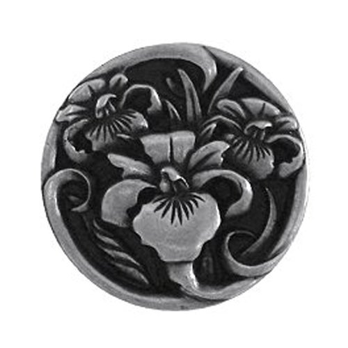 Notting Hill Floral 1-3/8 Inch Diameter Brilliant Pewter Cabinet Knob NHK-128-BP