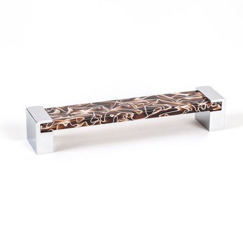 Static 6-5/16 Inch Center to Center Brown Transparent Polished Chrome Cabinet Pull <small>(#9768-1000-P)</small>