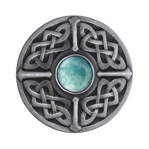 Jewel 1-3/8 Inch Diameter Antique Pewter Cabinet Knob <small>(#NHK-158-AP-GA)</small>