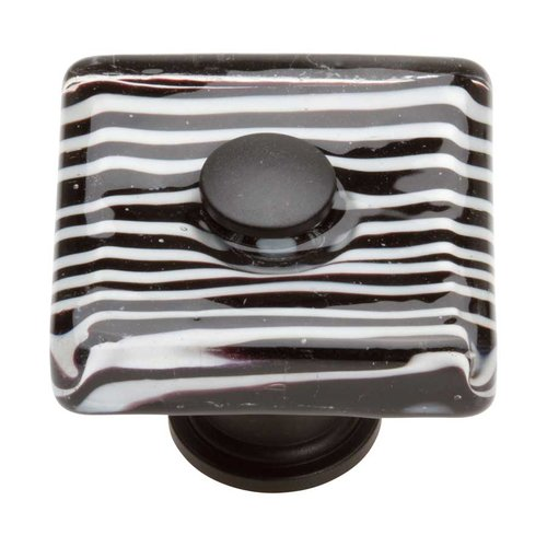 Atlas Homewares Glass 1-1/2 Inch Diameter Matte Black Cabinet Knob 3223-BL