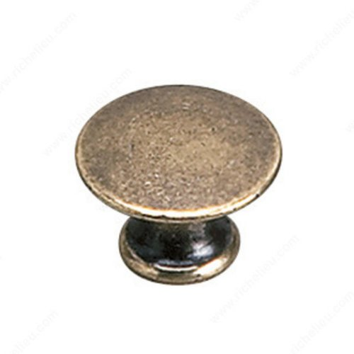 Richelieu Povera 13/16 Inch Diameter Burnished Brass Cabinet Knob 2445920BB