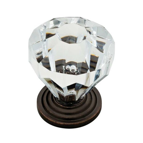 Liberty Hardware Design Facets 1-1/4 Inch Diameter Statuary Bronze & Clear Cabinet Knob P30122-STC-C