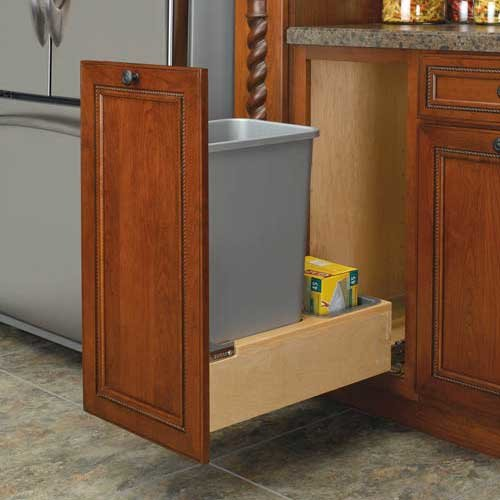 Rev-A-Shelf Single Trash Pullout 50 Quart-Wood 4WCBM-1550DM-1