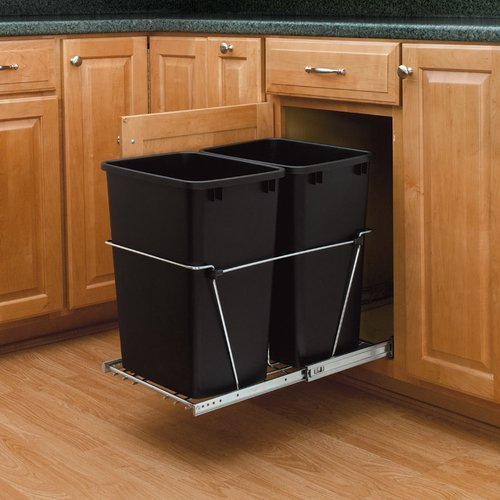 Rev-A-Shelf Double Trash Pullout 35 Quart-Black RV-18KD-18C S
