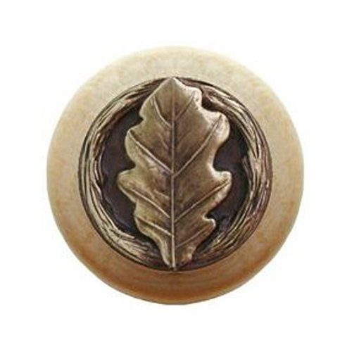 Notting Hill Leaves 1-1/2 Inch Diameter Antique Brass Cabinet Knob NHW-744N-AB
