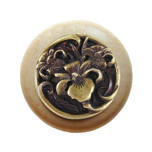 Notting Hill Floral 1-1/2 Inch Diameter Antique Brass Cabinet Knob NHW-728N-AB