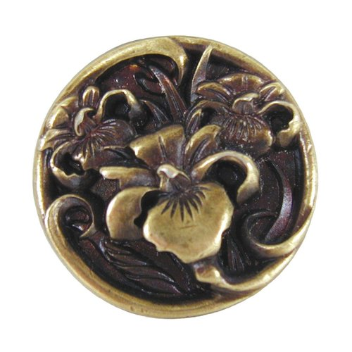 Notting Hill Floral 1-3/8 Inch Diameter Antique Brass Cabinet Knob NHK-128-AB